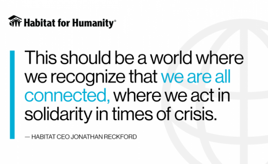 Habitat CEO: Coronavirus pandemic calls for a world where we care for each other